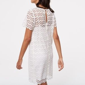 NWT LOFT Lace Chevron White Shift Dress Size 2